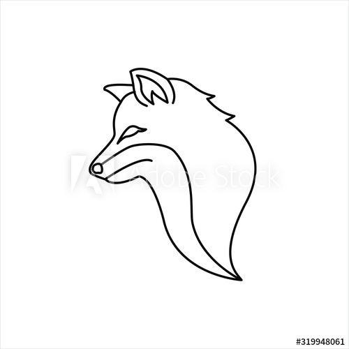 Outline Cute Wolf Or Fox Art Logo Line Art Vector Logo