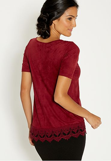 faux suede tee with scalloped crochet hem - maurices.com