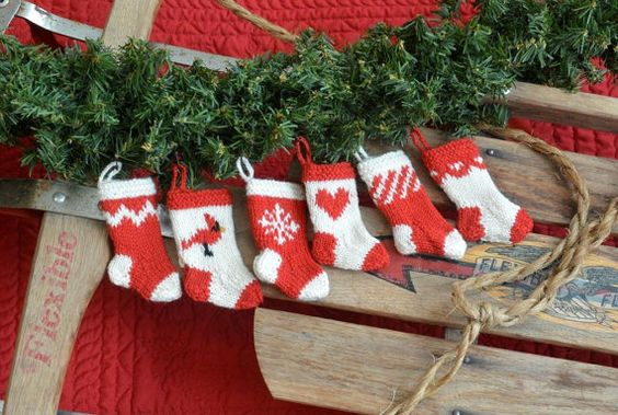 set of 6 Red & White Christmas Stocking Ornaments - a charming touch for your tree or garland!
