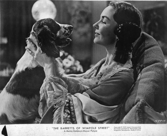 "Jennifer Jones e Cocker Spaniel no filme ""Flush"""