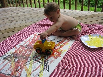 painting with trucks too cute!