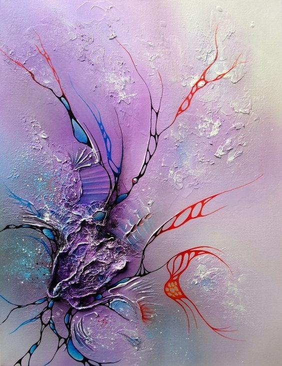 Tableau abstrait moderne acrylique en relief sur toile 46cm toile art pier - Peinture avec relief ...