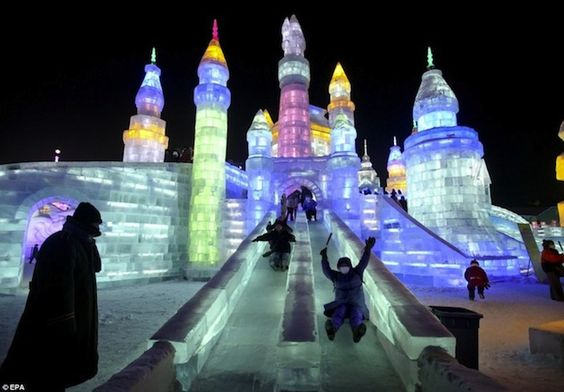 LED Lit Ice Slides At The Harbin Ice Festival in China 1