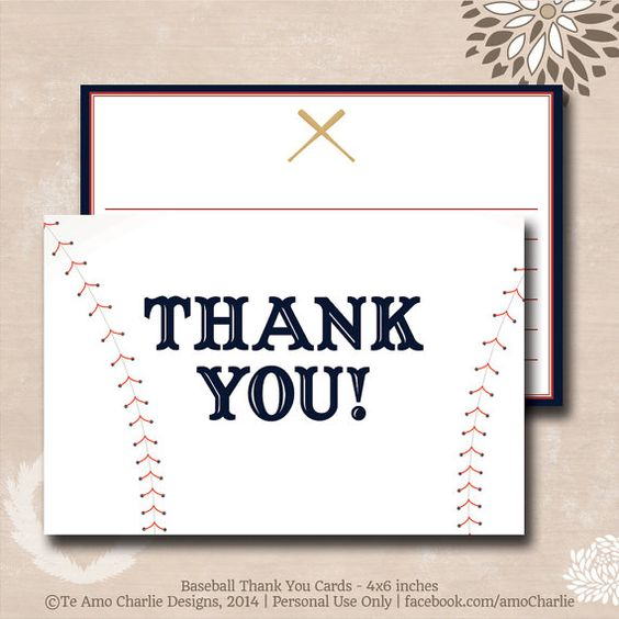 Personalized Baseball Thank You Cards Sport by TeAmoCharlie ...