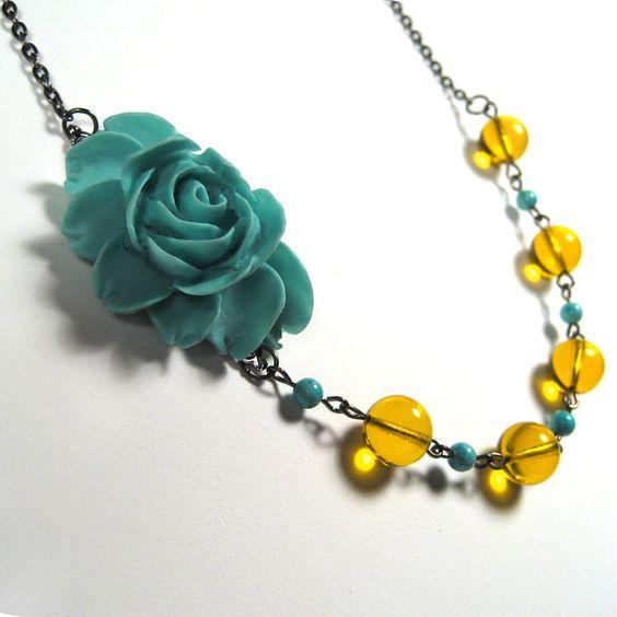 Tinkerbell Romantic Rose - Aqua Rose with Yellow and Aqua Beads. $22.00, via Etsy.