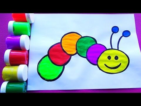 Como Dibujar Y Colorear Un Gusano Dibujos Faciles Para Ninos Y