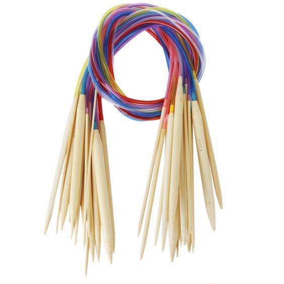 18 Tailles 2.0mm-10.0mm 80cm Aiguilles à Tricoter Circulaire en Bambou avec Tubes Colorés: Amazon.fr: Cuisine & Maison