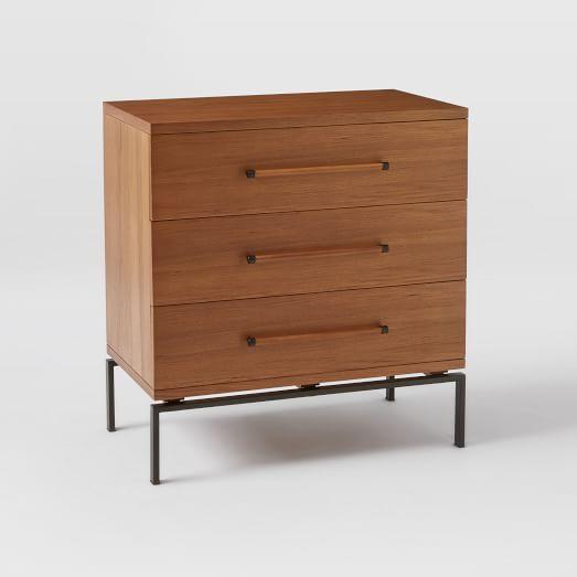 Nash Metal + Wood - 3-Drawer Dresser, Teak