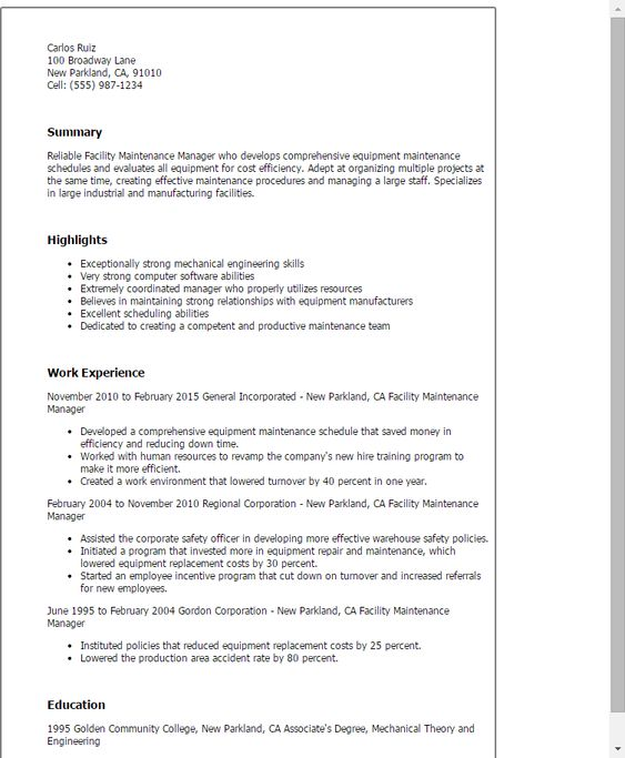 awesome Make the Most Magnificent Business Manager Resume for - facilities management resume