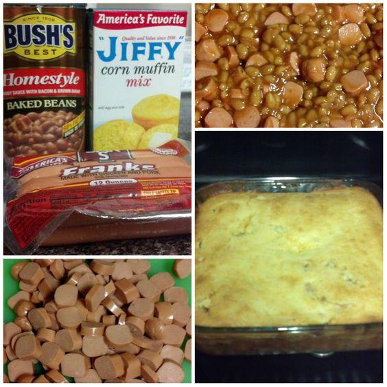 Beanie-Weenie Casserole...oh my.. Jason & Jordan will love this....like a corn dog with beans!