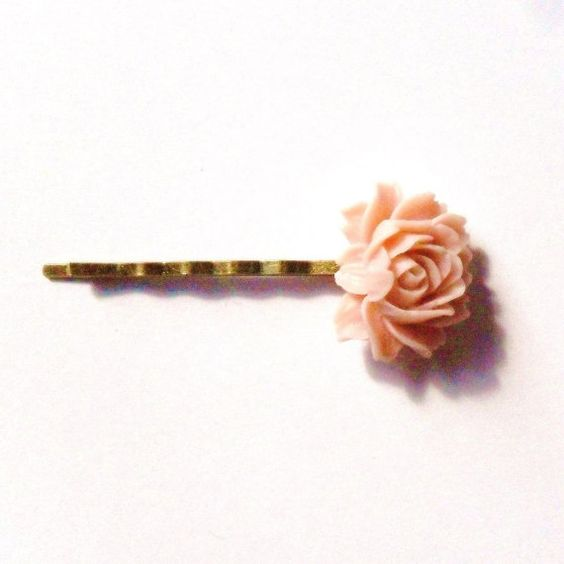 Pale Pink Cabbage Rose Bobby Pin Bridesmaids Gift by RoseUltra