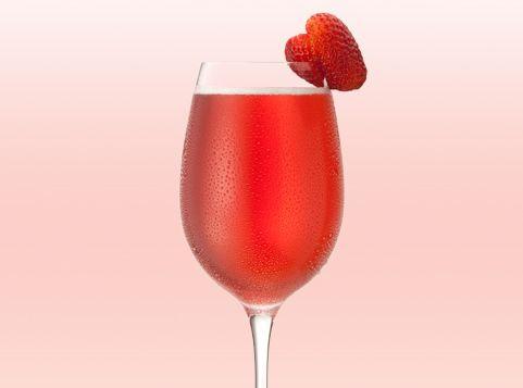 Korbel Sweet-tini. 1oz chambord flavored vodka, 2oz cranberry-apple juice, 4 oz Korbel sweet rose.