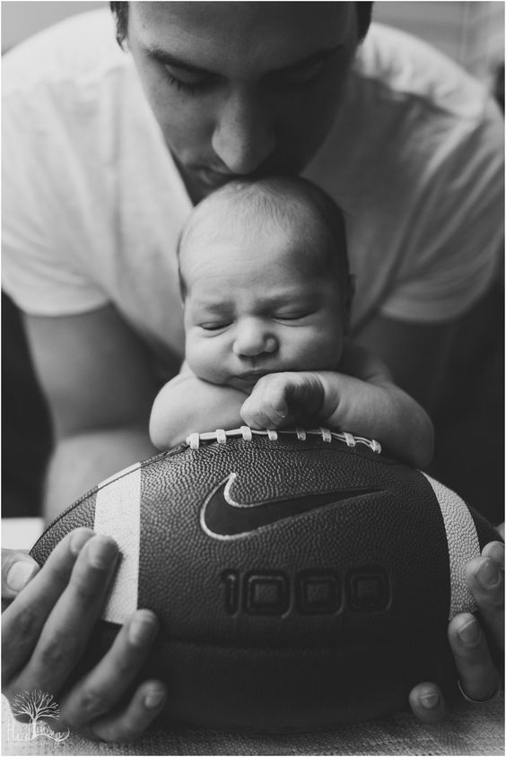 Noah Grayson | Newborn Photography | Dad, Baby & Football