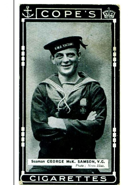 George Samson is celebrated on a cigarette card of the time
