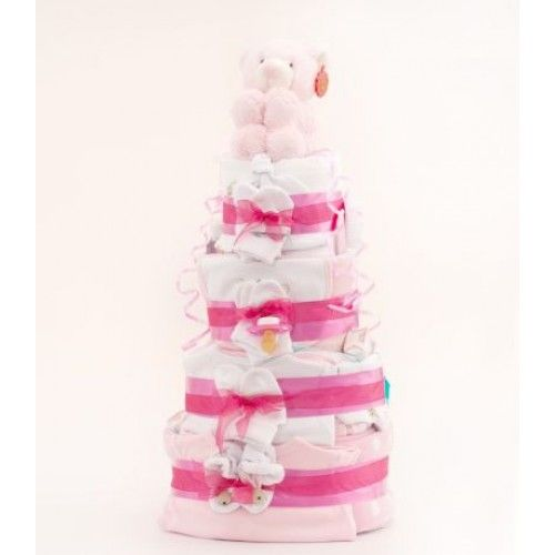 4 Tier Deluxe Nappy Cake - Pink | Baby Gifts and Baskets. #Shower #cake, baby #present, #gift for new. http://www.heritagehampers.com/gift-types/baby-gifts-nappy-cakes/4-tier-deluxe-nappy-cake---pink---baby-gift