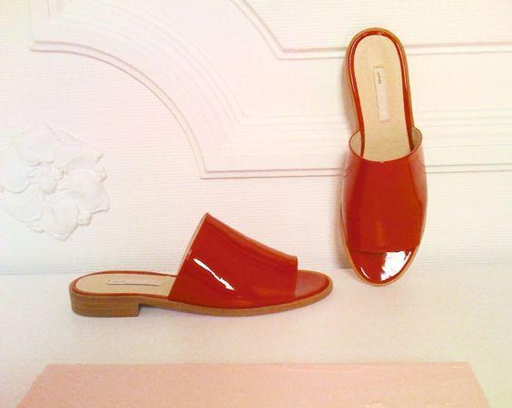 DAMEN-SLIPPER, rot, LACKLEDER, Gr.37 in Kleidung & Accessoires, Damenschuhe, Halbschuhe & Ballerinas   eBay