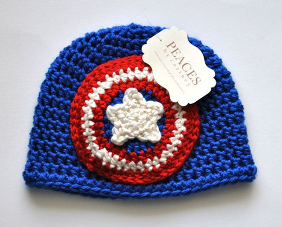 Captain America Inspired Baby Beanie Hat by Peaces by Cortney
