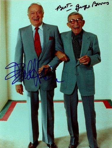 Bob Hope & George Burns Autographed Signed 8x10 Glossy Photo - COA - (Mint Condition) - (Guaranteed Authentic)   Authenticated by Nostalgic Authentics