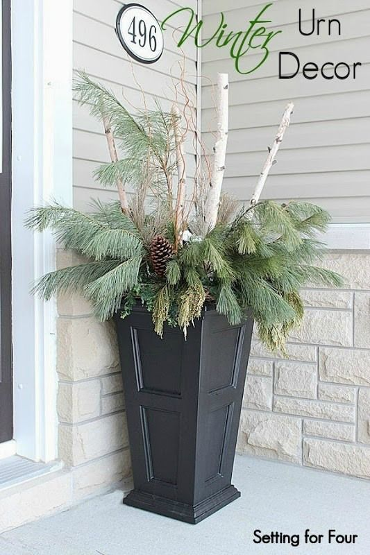 How to decorate winter urns with greenery and birch branches for your porch: See how to make these gorgeous winter containers for curb appeal WOW!