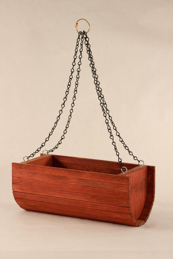 Hanging Basket Cedar Planter In Redwood By Kitschdesignsmontana