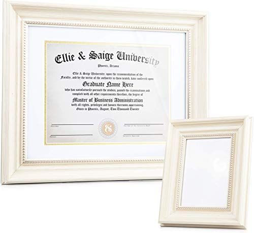 Buy Ellie Saige 8 5 X 11 11 X 14 Without Mat Stylish Cream Gold Wooden Diploma Degree Certificate Document Frame White Gold Trimmed Mat Matching 5 In 2020 Document Frame Online Frames Picture Frames Online