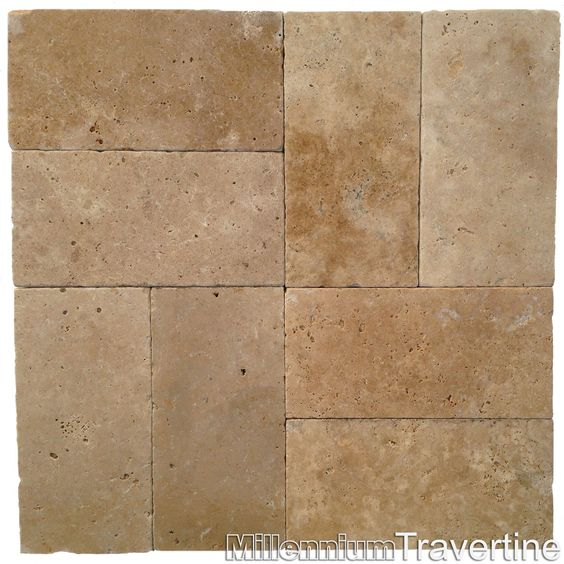 Basket Weave Pattern Pavers : Walnut tumbled travertine pavers shown in a quot basket