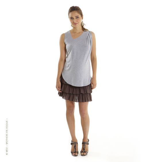 MEV - Mothers en Vogue - Stay stylish at work with a belly! Asta Asymmetric Tank is a versatile smart casual Maternity wardrobe co-ordinate that scores high on both comfort and style. Features a soft asymmetric v-neckline and finished with shoulder pleat detail on one side, creating dramatic folds of fabric along one side of the bodice when worn. #mothersenvogue #nursing #fashion #style #mev #moms #SS14