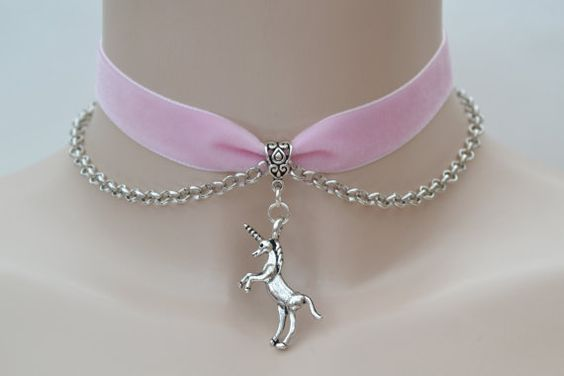 Posing UNICORN Horse Charm With CHAIN Baby PINK 16mm Velvet Ribbon Choker Necklace -vv... or another colour velvet, hand made to order :)
