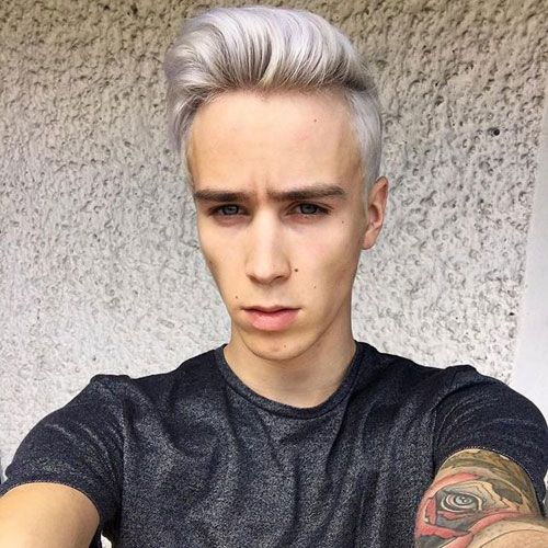 Classic Taper Comb Over Pomp Platinum Blonde Bleached Hair Dyed Blonde Hair Silver Blonde Hair