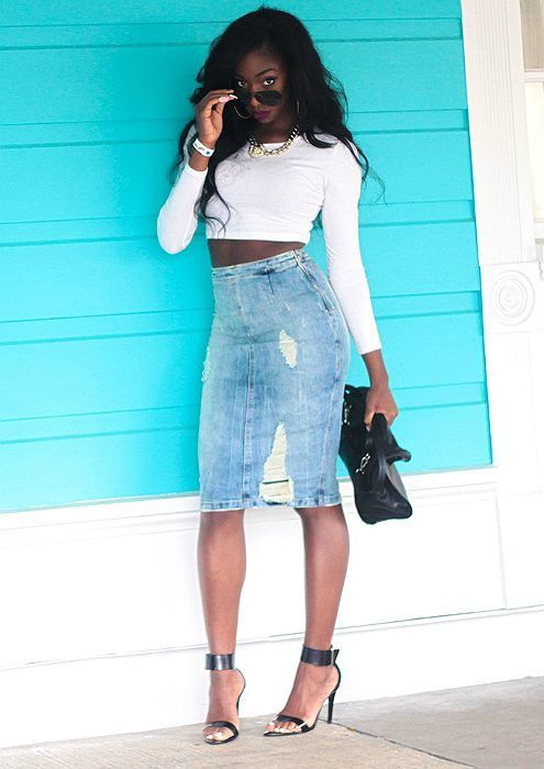 Denim Skirt High Waist