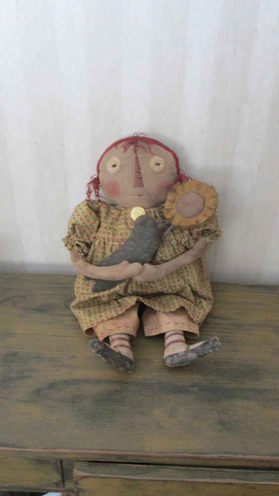 Prim Raggedy with Sunflower and Crow by Bettesbabies on Etsy, $43.00