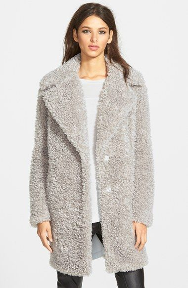 Women&39s kensie &39Teddy Bear&39 Notch Collar Faux Fur Coat (Online