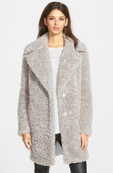 Women&39s kensie &39Teddy Bear&39 Notch Collar Faux Fur Coat (Online