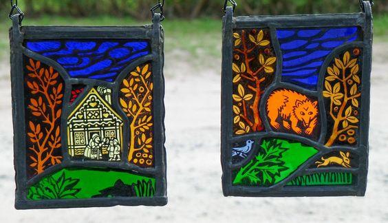 Bleiverglasung Fensterbild 2 St. alte Glasmalerei- Märchenmotive Echt Antikglas   eBay
