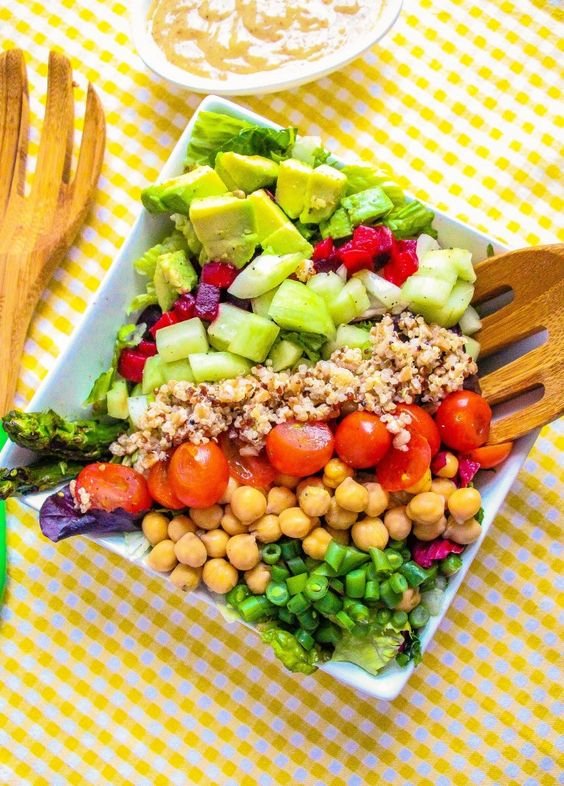 Vegan Cobb Salad:This delicious salad needs to be included in your weekly menu- very healthy and fresh. As always you can sub the veggies for your favorites ones.