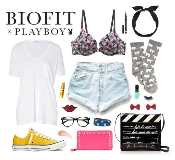 """""""BIOFIT x Playboy Contest Entry"""" by charmver ❤ liked on Polyvore featuring T By Alexander Wang, Levi's, Forever 21, Make, yunotme, Converse, Valentino, Tory Burch, MAKE UP FOR EVER and NARS Cosmetics"""