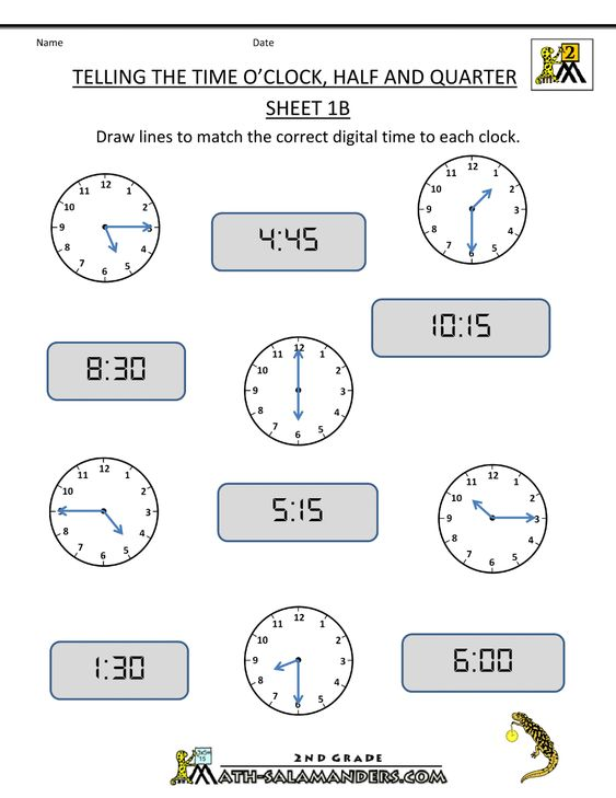 4th Grade Math Worksheets | clock Half and Quarter Sheet 1B O ...