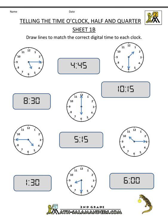4th Grade Math Worksheets   clock Half and Quarter Sheet 1B O ...