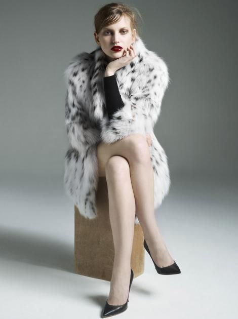 YVES SALOMON FOX FUR COAT FR 38 UK 10 US 6 IT 42