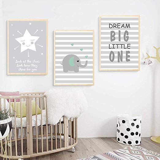 Urbanstyle Boutique Premium Nursery Print Canvas Art Baby Nursery Wall Art Nursery Room Furniture Modern Nursery Wall Art