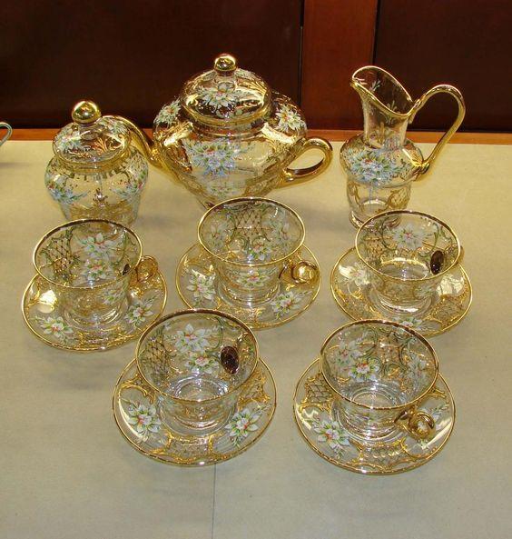 Enameled Venetian Glass Tea Set from Murano