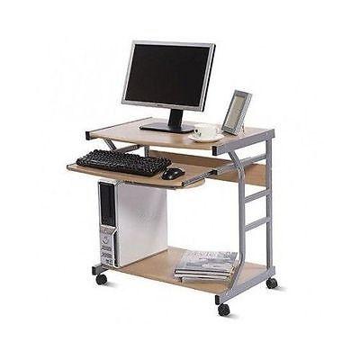Mobile Computer Desk Natural Compact Wheels Sliding Pullout Keyboard Shelf Dorm