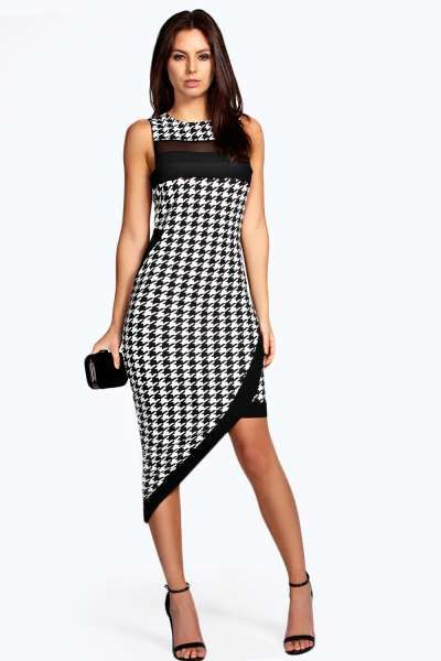 Scarlett Dogtooth Asymetric Bodycon Midi Dress at boohoo.com