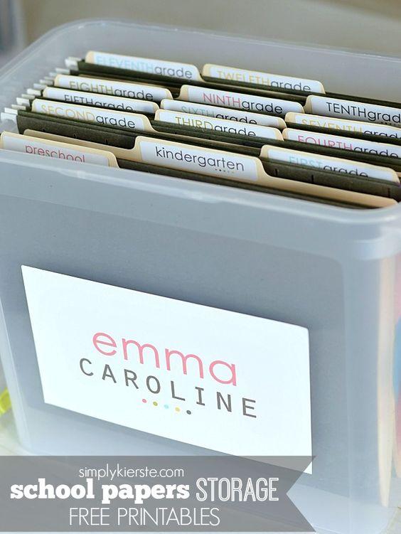 School Papers Storage   FREE PRINTABLES   simplykierste.com