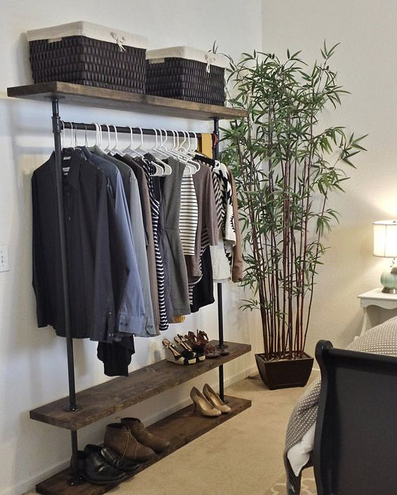 Ird triple shelf clothing rack industrial furniture for Furniture to hang clothes