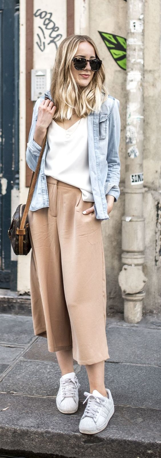 Blush Culottes Casual Style by Tiphaine's Diary