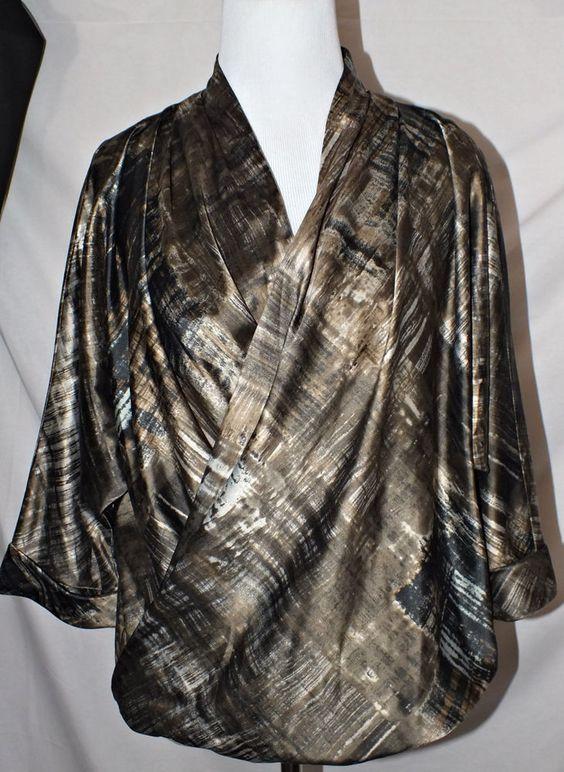 Marla Wynne Casual 3/4 Sleeve Multi-color Women's Top Blouse Size M #MarlaWynne #Blouse #Casual