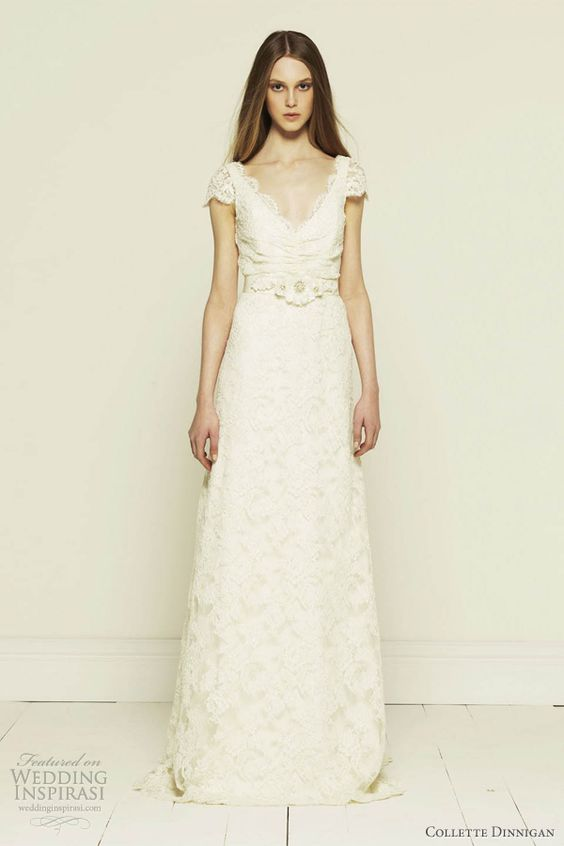 French corded lace short sleeve wedding dress with train. I love the romance of lace.