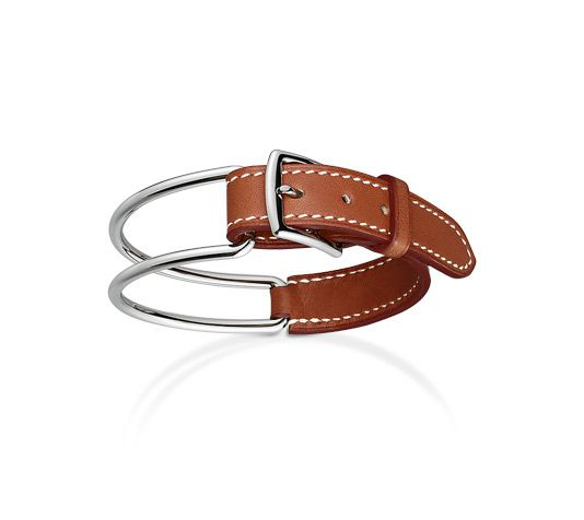 "Karlie Hermes leather bracelet (Size XS) Natural barenia calfskin Stainless steel plated hardware, <6.7"" circumference."
