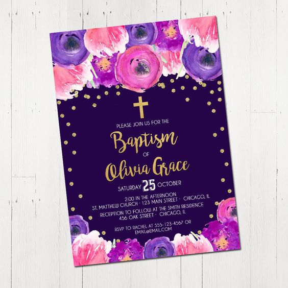 Baptism Invitation girl Christening party invite first holy communion dedication floral watercolor purple gold glitter Printable Invitation by StyleswithCharm on Etsy https://www.etsy.com/listing/492158395/baptism-invitation-girl-christening